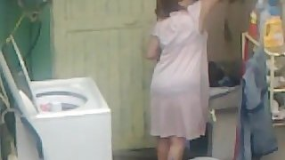 Spying Aunty Ass Washing ... Big Butt Chubby Plumper Mom
