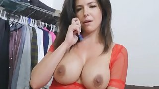 Sexy MILF Step Mom Phone Sex With Husband While Getting Fucked By step-Son